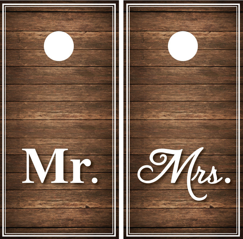 Mr and Mrs Distressed Wood (brown)