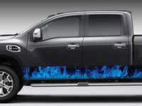 Fire Flames (Blue) Rocker Panel Decal Kit