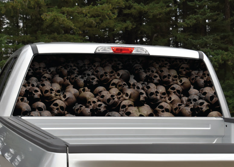 Pile of Skulls Aged Rear Window Decal