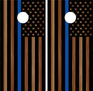 "American Flag ""Thin Blue Line"" #4 (Black) Woodgrain Police"