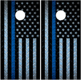 "Police ""Thin Blue Line"" Diamond Plate American Flag"