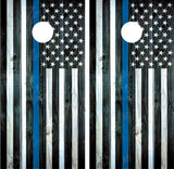 "Police ""Thin Blue Line"" Distressed Wood"