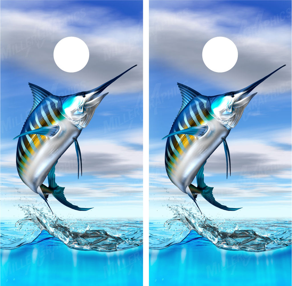 Striped Marlin Jumping Out of Water Fishing Cornhole Wraps