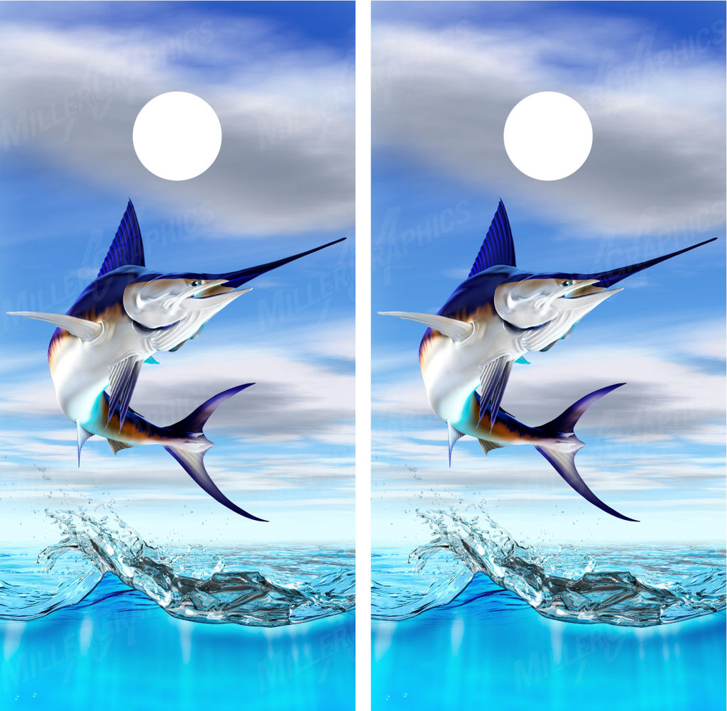 Swordfish Jumping Out of Water Fishing Cornhole Wraps