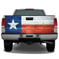 Texas Flag Distressed Wood Tailgate Wrap