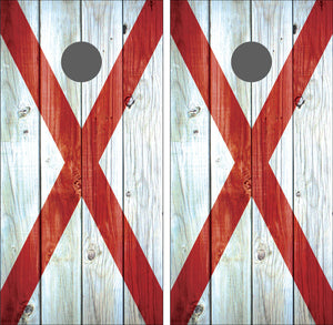 Alabama Flag Distressed Wood