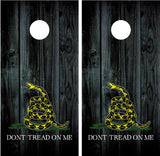 "Gadsden Flag ""Don't Tread On Me"" Black Wood"