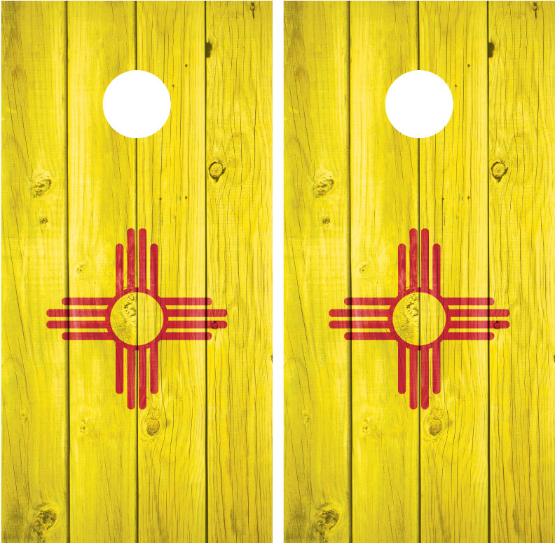 New Mexico State Flag Distressed Wood