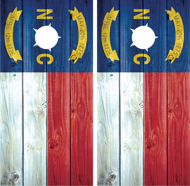 North Carolina Flag Distressed Wood