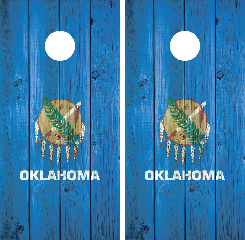 Oklahoma State Flag Distressed Wood