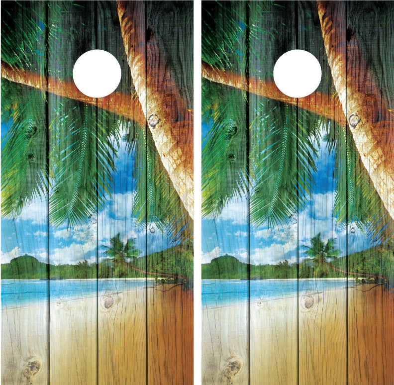 Beach Palm Trees #4 Distressed Wood