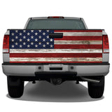 American Flag Distressed Wood Vintage Tailgate Wrap