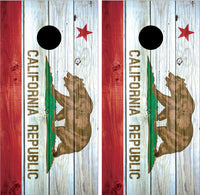 California Flag Distressed Wood