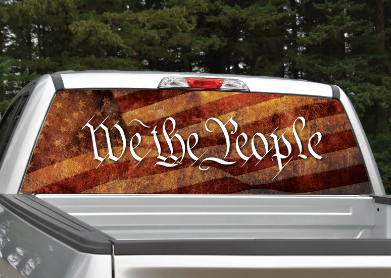 """We The People"" American Flag Patriotic Rear Window Graphic Decal"