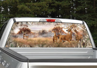 Whitetail Buck Deer Scenery Camo Border Rear Window Decal
