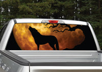 Wolf Howling At Moon (Orange) Rear Window Decal