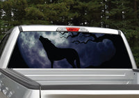 Wolf Howling At Moon Rear Window Decal