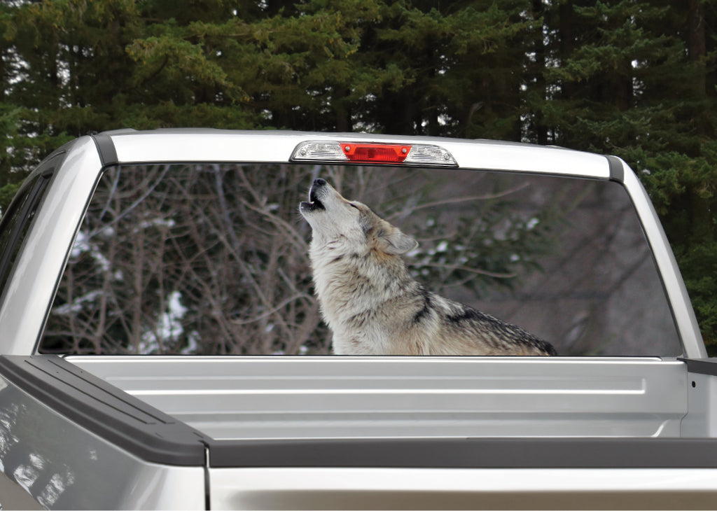 Wolf Howling Rear Window Decal