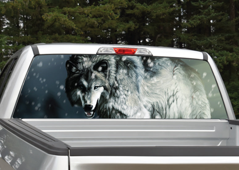 Wolf #4 Growling Rear Window Decal