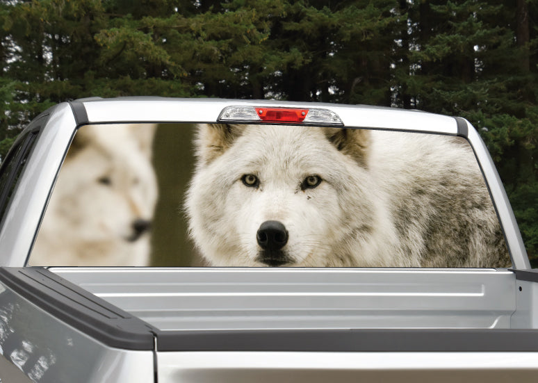 Wolf (White) Rear Window Decal