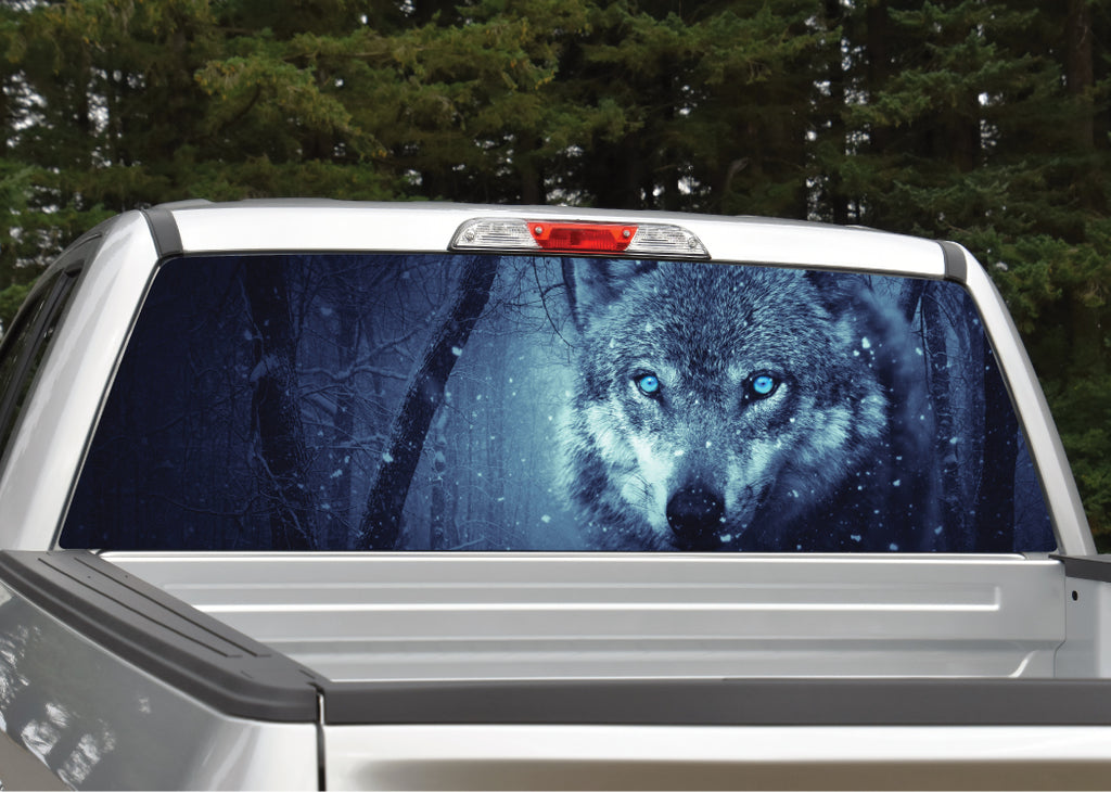 Wolf in Forest Night Scene Rear Window Decal