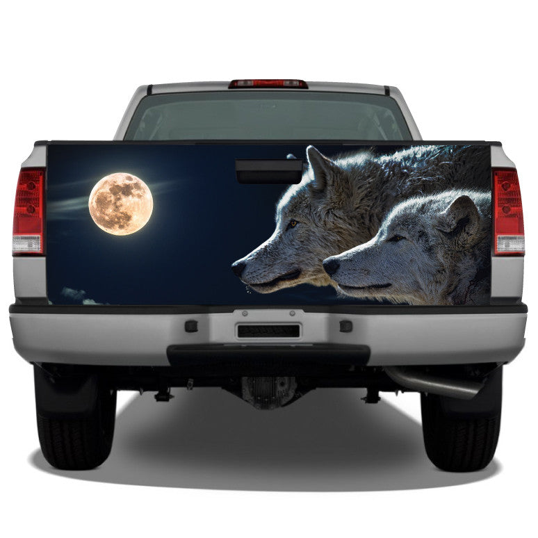 Wolves Moon Night Scene Tailgate Wrap