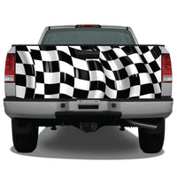 Checkered Flag Waving Tailgate Wrap