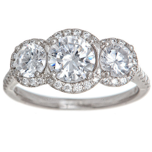 Platinum and Diamond 3 Stone Semi-Mount Ring