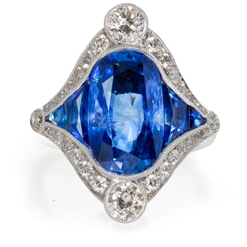Estate 18kt White Gold Sapphire and Diamond Ring