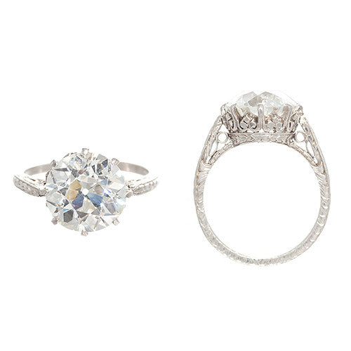 Platinum and Diamond Solitare Engagement Ring