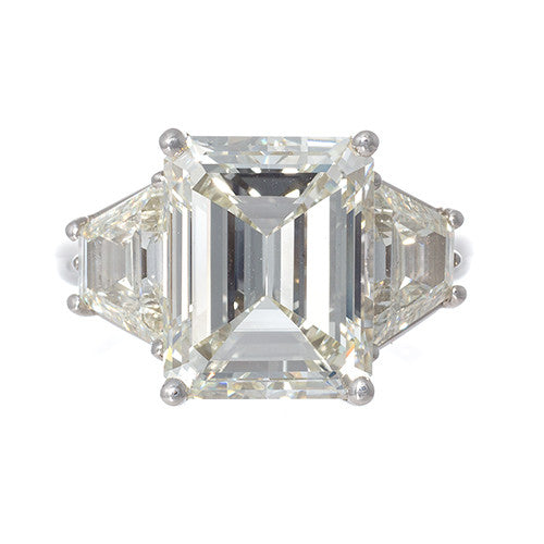 Emerald Cut with Trapezoids Platinum and Diamond Engagement Ring