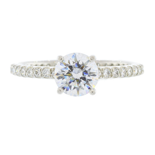 Platinum Round Prong Set Diamond Semi Mount