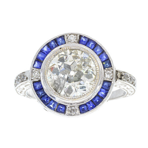 Estate Sapphire and Diamond Bulls Eye Ring