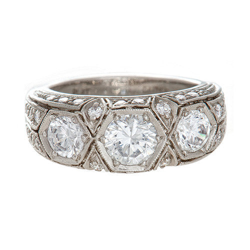 Art Deco Platinum Semi-mount Ring