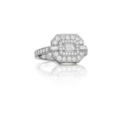 Penny Preville 18K White Gold & Diamond Deco Ring