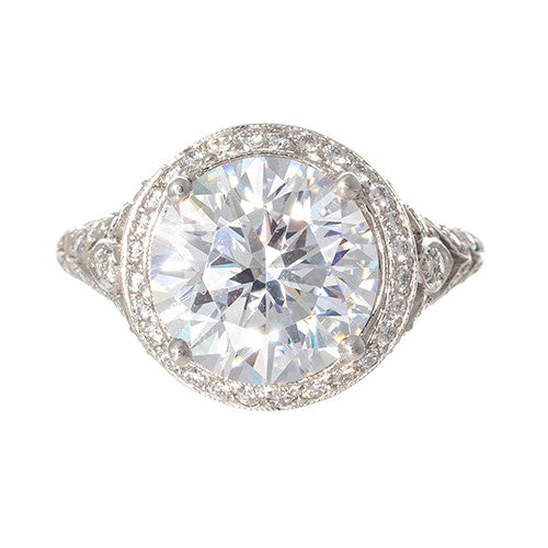Platinum Art Deco Diamond Semi-Mount Setting