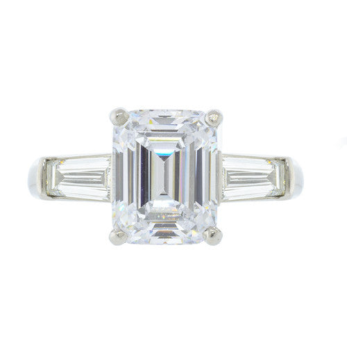 Platinum Emerald Cut with Baguettes Semi-Mount