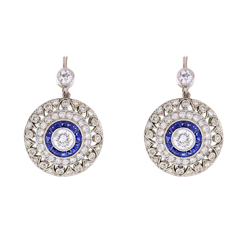 Platinum Diamond and Sapphire Estate Earrings