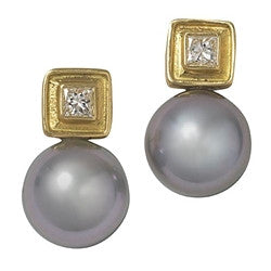 LPL Signature Collection Grey Pearl and Diamond Earrings