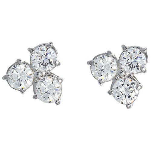 Estate 3 Stone Diamond Earrings
