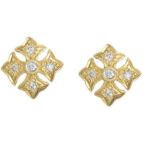 14kt Yellow Gold Maltese Diamond Earrings