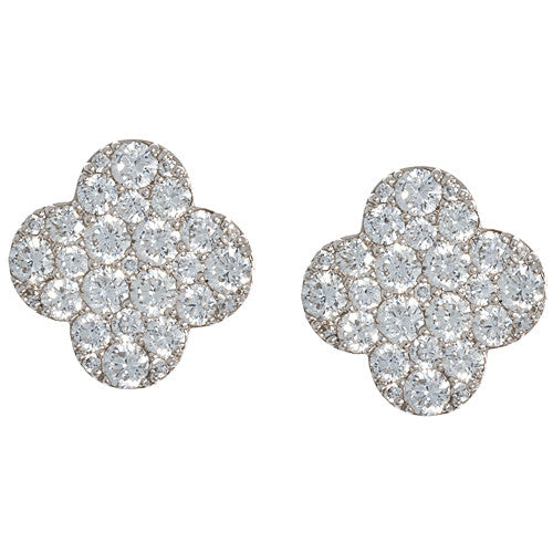 18kt White Gold and Diamond Clover Earrings