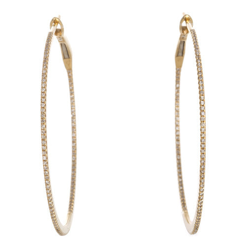 Medium 18kt Yellow Gold Diamond Hoops