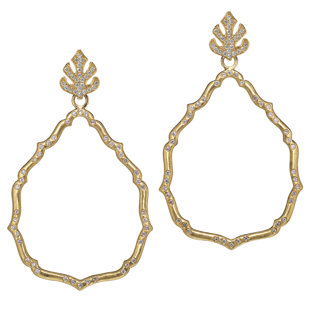 Katie Decker 18kt Yellow Gold Aragon Earring with Leaf Top