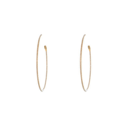 Small 18kt Yellow Gold and Diamond Hoops