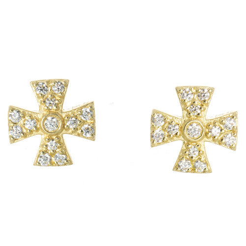 LPL Signature Collection 18kt Yellow Gold and Diamond Maltese Cross Earrings