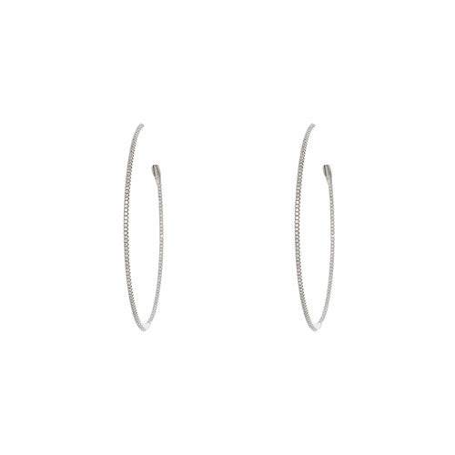 Small 18kt White Gold and Diamond Hoops