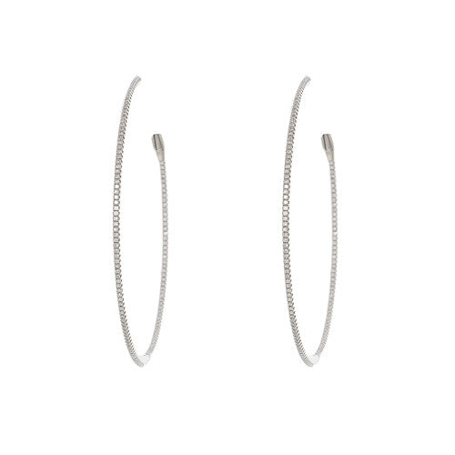 Medium 18kt White Gold and Diamond Hoops