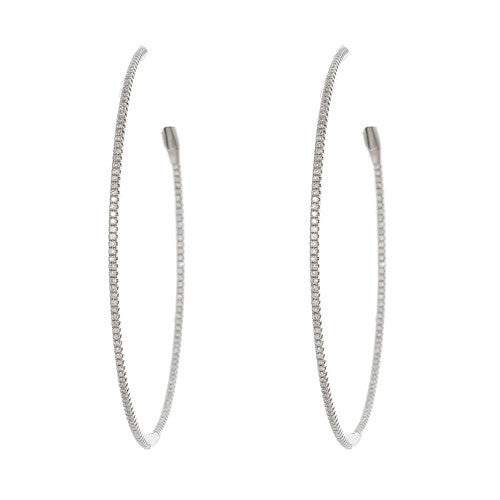 Large 18kt White Gold and Diamond Hoops