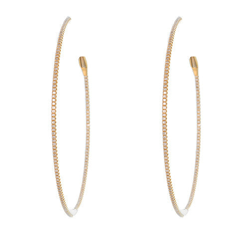 Large 18kt Yellow Gold and Diamond Hoops